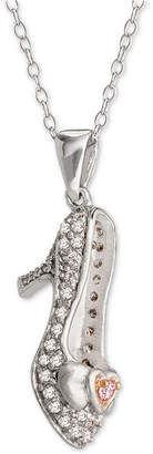 "Disney Cubic Zirconia Cinderella Slipper 18"" Pendant Necklace in Sterling Silver & Rose Gold-Tone"