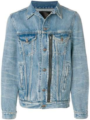R 13 zip front denim jacket