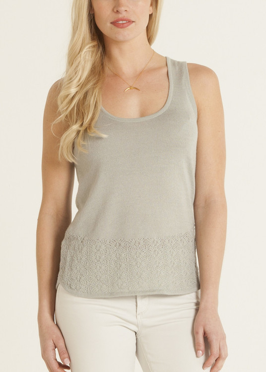 Callina Style - Carmen Knit Lace Top In Color Celadon