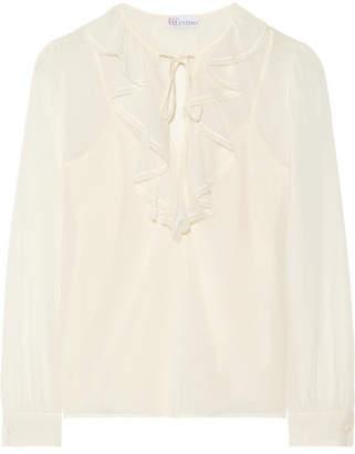 REDValentino - Ruffled Stretch-silk Chiffon Blouse - Cream $440 thestylecure.com