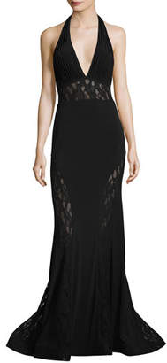 Jovani Plunging V-Neck Mermaid Gown w/ Lace Panels