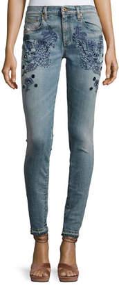 Roberto Cavalli Embroidered Slim-Leg Jeans, Blue $1,325 thestylecure.com