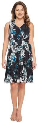 Tahari ASL Petite Palm Print Georgette Dress Women's Dress