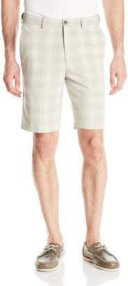 Haggar Men's Cool 18 Expandable Waist Plain Front Simple Plaid Short