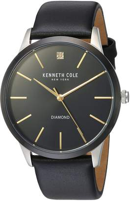 Kenneth Cole New York Men's 'Diamond' Quartz Stainless Steel and Leather Dress Watch, Color: (Model: 10031287)