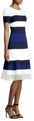 St. John Stripe-Knit A-Line Dress