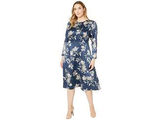 Vince Camuto Specialty Size Plus Size Long Sleeve Refined Etched Bouquet Dress
