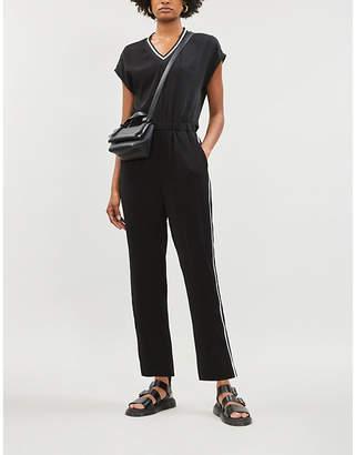 B+AB Striped-trim crepe jumpsuit