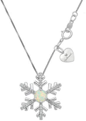 HALLMARK DIAMONDS Hallmark Diamonds Womens Lab Created White Opal Sterling Silver Snowflake Pendant Necklace