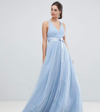 Asos Tall PREMIUM Tall Tulle Maxi Prom Dress With Ribbon Ties
