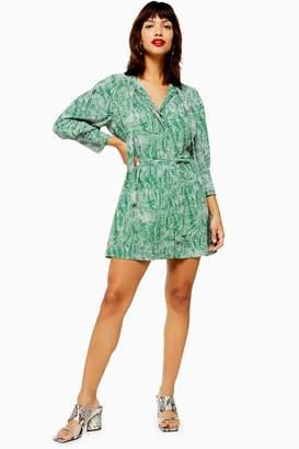Topshop Womens Tall Green Animal Pintuck Dress - Green