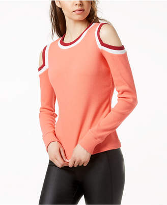 Bar III Varsity Cold-Shoulder Top, Created for Macy's