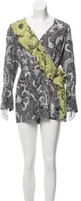 Diane von Furstenberg Long Sleeve Silk Romper