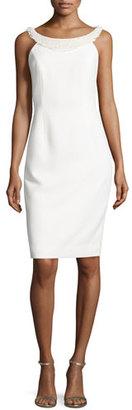 Carmen Marc Valvo Sleeveless Sheath Dress W/Fringe Trim, Ivory $595 thestylecure.com