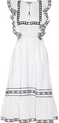 SEA - Ruffled Crochet-trimmed Cotton-voile Midi Dress - White $425 thestylecure.com