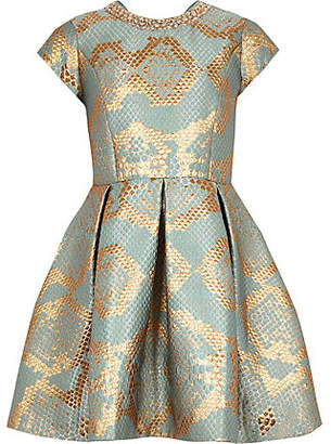 River Island Girls gold snake print jacquard prom dress