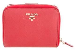 Prada Saffiano Compact Zip-Around Wallet Red Saffiano Compact Zip-Around Wallet
