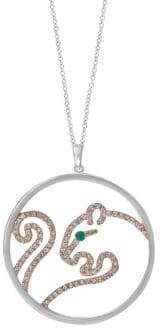 Effy 14K Two-Tone Gold, Diamond & Emerald Panther Pendant Necklace