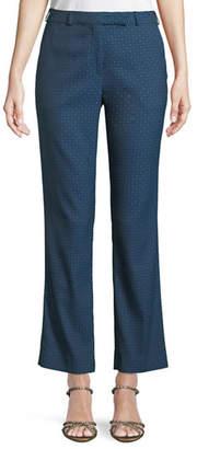 Etro Tab-Front Straight-Leg Cropped Jacquard Pants