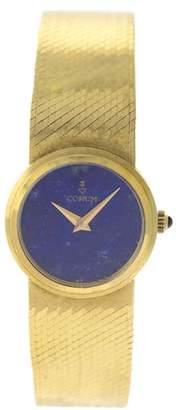 Corum COR7 18K Yellow Gold Lapis Lazuli Dial Integrated Bracelet Womens Watch