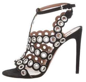Alaia Grommet Suede Sandals