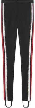 Gucci Black Crystal Stripe Stirrup Track Pants