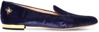 Charlotte Olympia 10mm Logo Detail Velvet Loafers