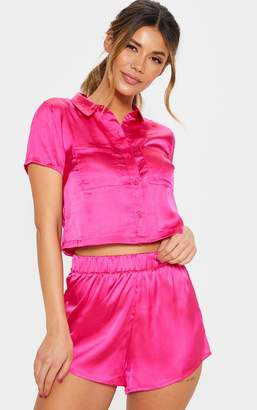 PrettyLittleThing Fuchsia Bow Back Short Pyjama Set