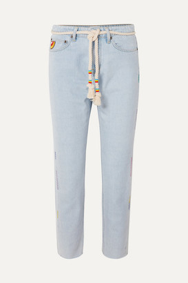 Mira Mikati Cropped Embroidered High-rise Straight-leg Jeans - Light denim