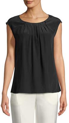 Escada Cap-Sleeve Pleated Round-Neck Silk Blouse