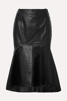 Balenciaga Fluted Leather Skirt - Black