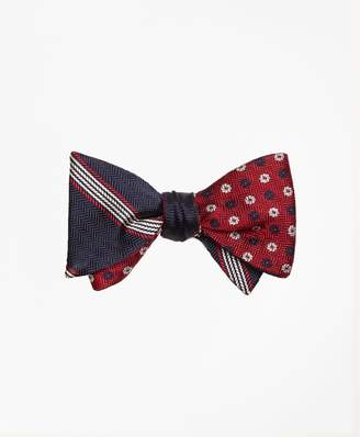 Brooks Brothers Herringbone Music Stripe with Parquet Pinwheel Reversible Bow Tie