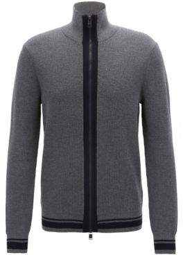 BOSS Hugo Zip-through knitted jacket in mulesing-free merino wool M Grey