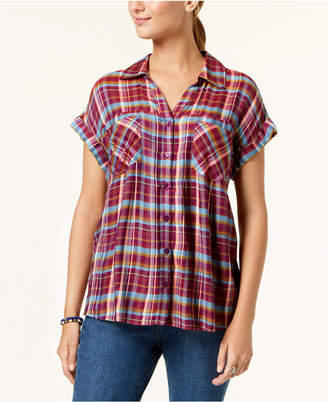 Style&Co. Style & Co Plaid High-Low Shirt