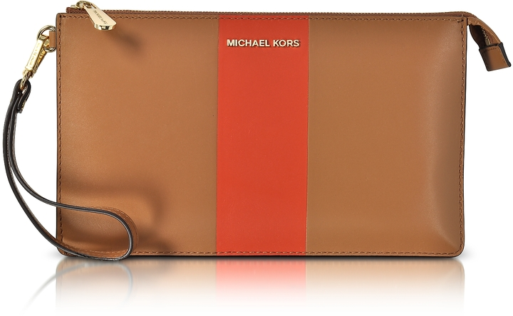 MICHAEL Michael Kors Michael Kors Acorn & Orange Large Daniela Center Stripe Leather Zip Clutch
