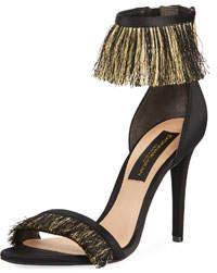 Val Satin Fringe Ankle-Strap Sandal