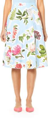 Carolina Herrera Floral Collage-Print Cotton Faille Full Skirt