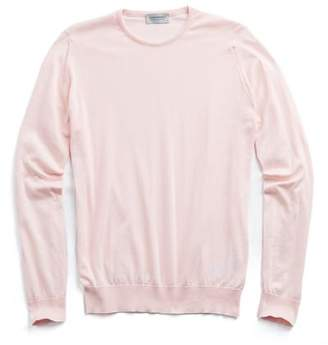 John Smedley Sweaters Hatfield Cotton Crewneck Sweater in Pink