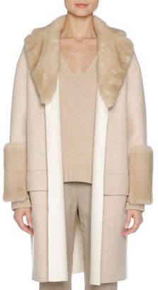Agnona Relaxed Cashmere Coat with Mink Fur Trim