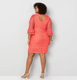 dabafe7b806 Avenue Lace Ruffle Sleeve A-Line Dress