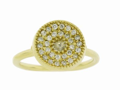 Mizuki Diamond Evil Eye Ring in Yellow Gold