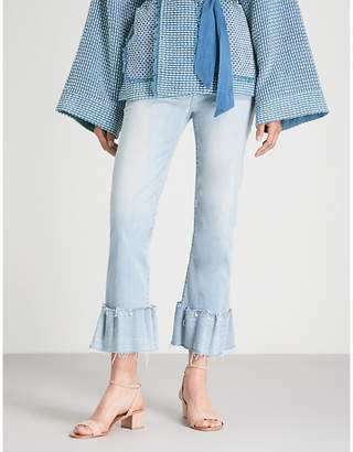 Paige Hoxton faux pearl-emellished skinny mid-rise jeans