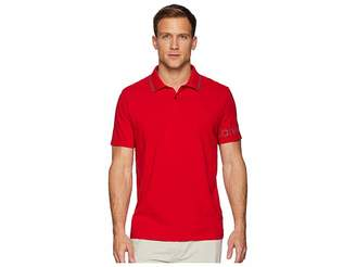 Calvin Klein Short Sleeve V-Neck Polo with Printed Sleeve Logo Men's Clothing