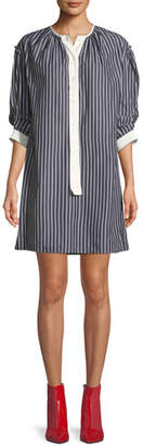 Marc Jacobs Crewneck 3/4-Sleeves Striped Cotton Shirtdress