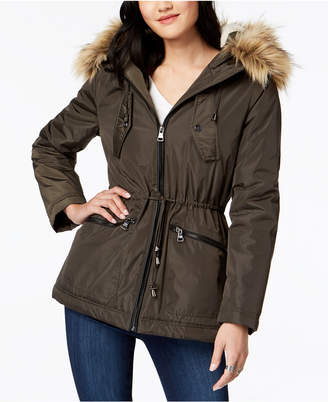 Madden-Girl Juniors' Faux-Fur-Trim Hooded Anorak