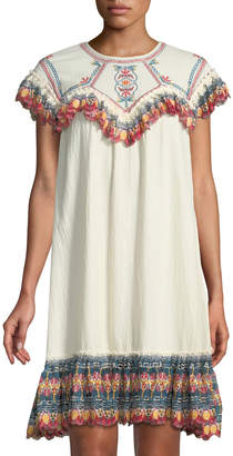 Leon Max Embroidered Gauze Short-Sleeve Dress