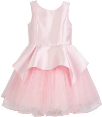 Neiman Marcus Zoe Pointed Peplum Matte Sateen Dress w/ Pleated Tulle Skirt, Size 7-16