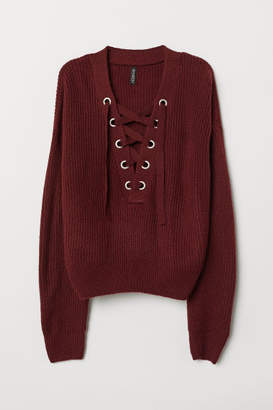 H&M Knit Sweater with Lacing - Red