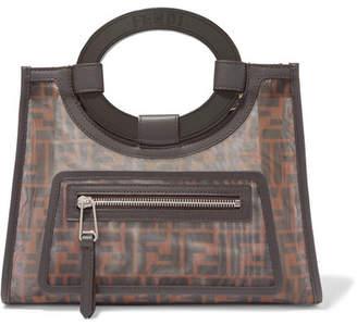 Fendi Runaway Small Leather-trimmed Printed Mesh Tote - Dark brown 90f97bffe306c