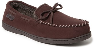 Dearfoams Men's Microsuede Whipstitch Trim Moccasin Slippers